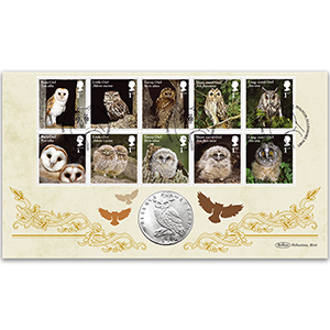 2018 Owls Stamps Coin Cover