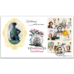 2018 Captain Cook Stamps Coin Cover - Signed Professor Glyn Williams