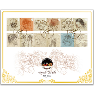 2019 Leonardo da Vinci Stamps Coin Cover