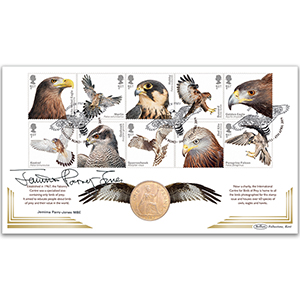 2019 Birds of Prey Stamps Coin - Signed Jemima Parry-Jones MBE