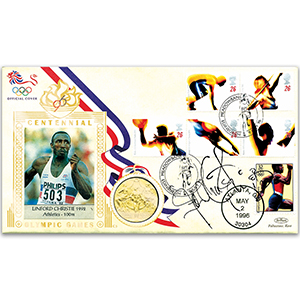 1996 Olympic Coin Cover - Signed by Linford Christie