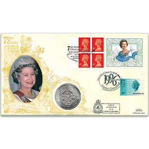 1996 The Queen's 70th Coin Cover - Doubled Queensland, Australia
