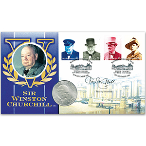 1999 Churchill 125th Coin Cover - Signed by Timothy West