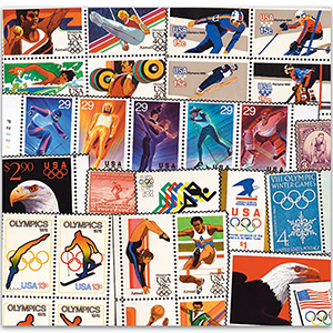 64 U.S.A Summer & Winter Olympic Stamps