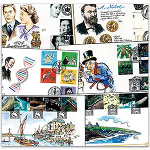 7 Benham hand painted first day covers