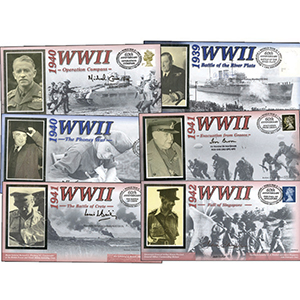 26 Signed WWII Battle Covers