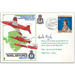 1977 1st Hawker training flight RAF Valley - Signed by Squadron Leader Neville Duke
