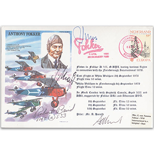 1976 Anthony Fokker - Signed By Josef Kraft, Captain Robert Baird and 2 others