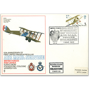 1969 50th Anniversary 1st Scheduled Air Mail service Folkestone-Cologne