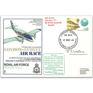 1969 London-Sydney Air Race - Signed Sqdn Ldr Waters