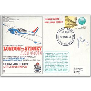 1969 London to Sydney Air Race - Signed Flt. Lt. T. Kingsley