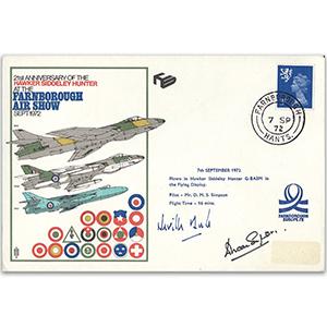 1972 Hawker Hunter 21st - Signed by Test Pilot Neville Duke and Pilot D. Simpson