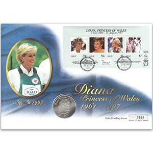 1998 Niue - Princess Diana Sheetlet Coin Cover