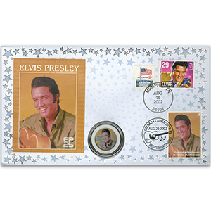 2002 Elvis 25th Anniversary Coin Cover - Memphis, USA - Doubled Grenada/Carriacou