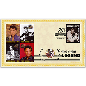 2010 Elvis Birth 75th Anniversary Coin Cover - 'The King' - Dominica