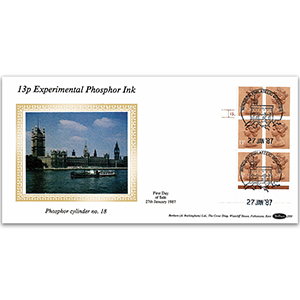 1987 13p Experimental Phosphor Ink - Windsor Handstamp