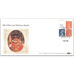 1988 50p Gilbert & Sullivan Cylinder Booklet - Tower Hill Handstamp