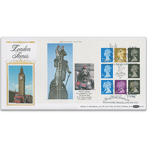 1990 London Life PSB Pane - Stamp World, Alexandra Palace Handstamp