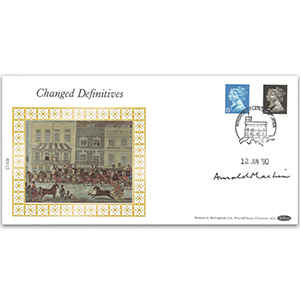 1990 1d Black 150th - Changed Definitives - Signed by Arnold Machin