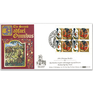1991 Christmas Booklet - 18p Sheetlets in pairs - Shrewsbury 'Cadfael' Handstamp