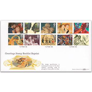 1996 Greetings Stamp Booklet Reprint - Phosphor Change Yellow to Blue
