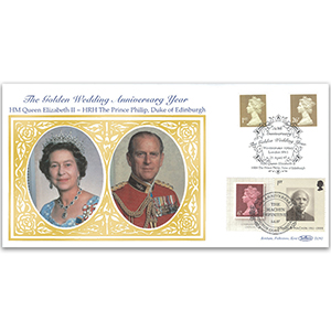 1997 Golden Wedding - Machin Gold 1st Class NVI & 26p - Doubled 2007 for Machin 40th