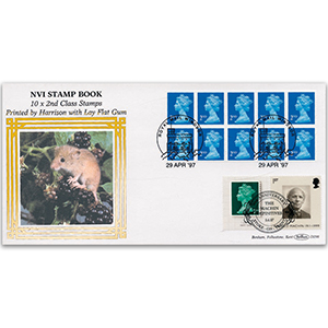 1997 NVI Stamp Book - 10 x 2nd Class Harrison with Lay Flat Gum - Doubled 2007 for Machin 40th