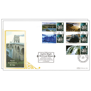 2006 Glorious Wales Pair - Cartor Security in Litho - Menai Bridge Handstamp