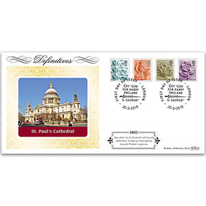 2018 Tariff Regional New Values Definitive Cover - England 2nd, 1st, £1.25, £1.45