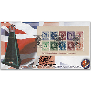 2003 Wilding Definitives M/S - National Service Memorial - Signed by Lord Tebbit