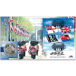 2001 Flags & Ensigns M/S Coin Cover - Signed by Adm. Sir Hugo White GCB CBE DL