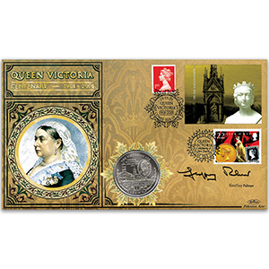 2001 Queen Victoria Label Coin Cover - Signed by Geoffrey Palmer