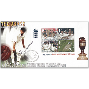 2005 England Ashes Victory M/S - Signed by Freddie Trueman