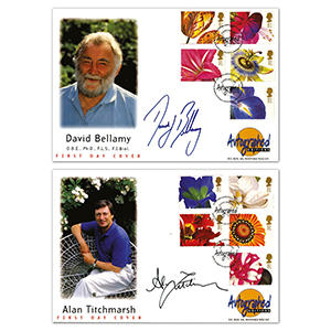 1997 Greetings: Flower Paintings - Autographed Editions - Signed by Alan Titchmarsh & David Bellamy