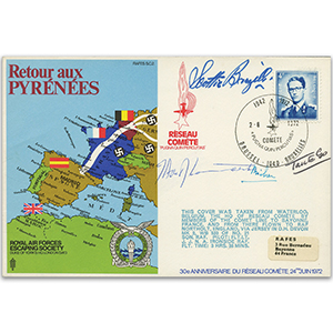 1972 RAFES - Pyrenees Escape Route - Signed by Flt. Lt. J. Ironside and 3 others