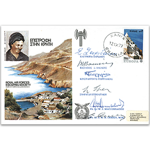 1977 RAFES Escape from Crete - Signed by 6 Including Four Members of the Greek Escape Team
