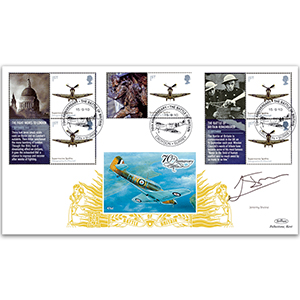 2010 Battle of Britain Generic Sheet GOLD 500 Cover 4 - Signed by Jeremy Irvine