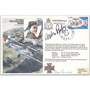1977 France - Air Marshall Sir William Avery Bishop VC - Signed by his son and Edgar Percival