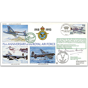 1993 Fiji RAF 75th - No. 60 Sqn. - Signed by Group Captain W. G. G. Duncan Smith DSO, DFC, AE