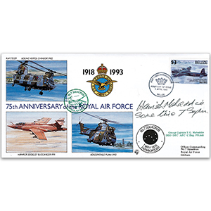 1993 Belize RAF 75th - No. 7 Sqn - Signed by Gp. Capt. T. 'Hamish' Mahaddie DSO