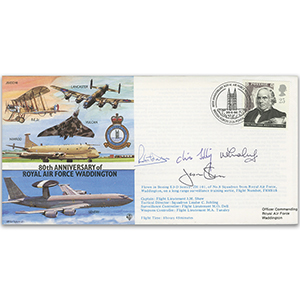 1996 80th Anniversary RAF Waddington - Flown - Signed by Pilot and 3 others