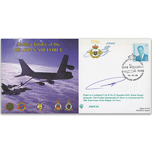 1996 50th Anniversary Belgian Air Force - Flown - Signed by the Pilot
