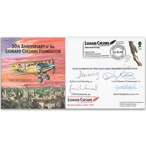 1990 Leonard Cheshire Foundation - Signed by D. Puttnam, D. Shepherd, C. Michelmore & Lord Denning
