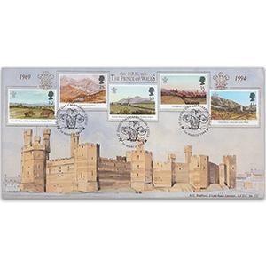1994 Prince Charles Investiture Anniv - Caernafon Castle handstamp