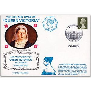 1987 LTQV - 150th Anniversary of Queen Victorias Accession - London SW1 handstamp