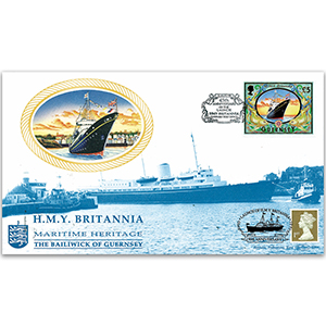 1998 Guernsey HMY Britannia 45th Anniversary Cover - Doubled 2003 for 50th
