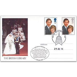 2006 25th Anniversary Charles & Diana Wedding Postcard