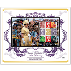 2016 Special Queen Elizabeth II's 90th 22ct Gold Embossed Pane Cover