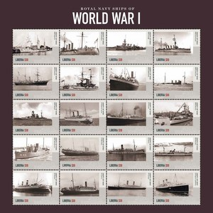WWI Royal Navy Ships - Sheetlet - Liberia