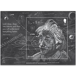 Jersey Einstein World Stamp Show NY16 £2 M/S 28/5/16